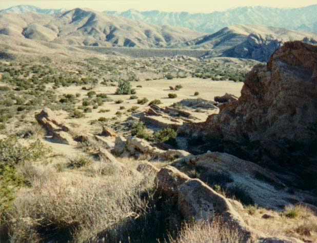 View of the San Gabriel Mountains and the Antelope Valley Freeway